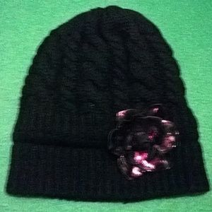 Black Cable Knitted Beanie with Flower Corsage